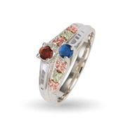 Black Hills Gold With Sterling Silver Ladies Birthstone Bypass Ring