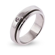 Engravable Sterling Silver Spinner Ring with Single CZ
