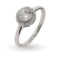 Classic Round Brilliant Cut CZ Halo Ring
