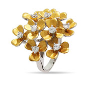 Gold Vermeil Sterling Silver Dogwood Flower CZ Ring
