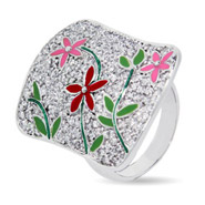 Designer Inspired Glistening Pave CZ Enamel Flower Cocktail Ring