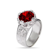 Engravable Sparkling Star Cut Red CZ Gothic Cross Sterling Silver Ring