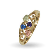 10K Black Hills Gold 2 Stone Family Birthstone Ring