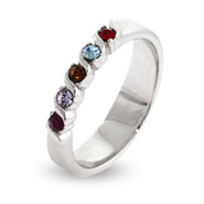 5 Stone Single Wave Swarovski Crystal Custom Birthstone Family Ring