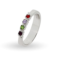 4 Stone Single Wave Swarovski Crystal Custom Birthstone Family Ring