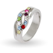 12 Stone Sterling Silver Swarovski Crystal Waves of Love Mother's Ring