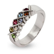 8 Stone Engravable Sterling Silver Custom Birthstone Mother's Ring