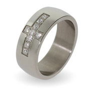 Men's Engravable Stainless Steel CZ Cross Ring