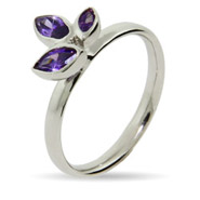 Stackable Reflections Amethyst CZ Leaves Stackable Ring