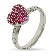Stackable Reflections Pink Pave CZ Heart Stackable Ring