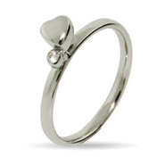 Stackable Reflections Single Heart with CZ Stackable Ring