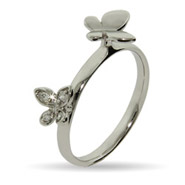 Stackable Reflections Double Butterflies Silver Stackable Ring