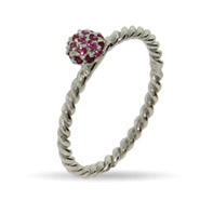 Stackable Reflections Raspberry CZ Stackable Ring