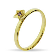 Stackable Reflections Gold Vermeil Amethyst CZ Star Stackable Ring