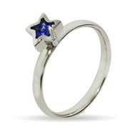 Stackable Reflections Blue CZ Star Silver Stackable Ring