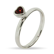 Stackable Reflections Red CZ Heart Silver Stackable Ring