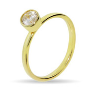 Stackable Reflections Gold Vermeil Solitaire Bezel CZ Stackable Ring
