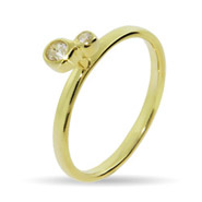 Stackable Reflections Gold Vermeil Double Bezel CZ Stackable Ring