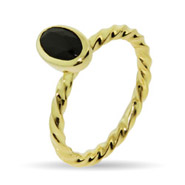 Stackabel Reflections Gold Vermeil Black Onyx Stackable Ring