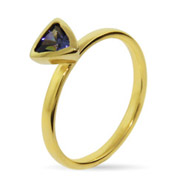 Stackable Reflections Gold Vermeil Amethyst CZ Stackable Ring