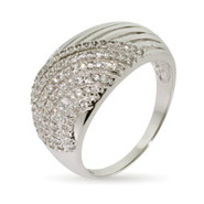 Micropave CZ Dome Shaped Sterling Silver Ring