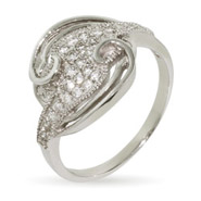 Swirling Circle Sterling Silver Micropave CZ Ring