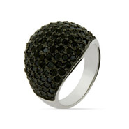 Dazzling Pave Black CZ Sterling Silver Cocktail Ring