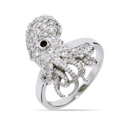 Sparkling Sterling Silver and CZ Octopus Ring