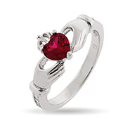 Close To The Heart Custom Birthstone Sterling Silver Claddagh Ring