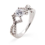 Elegant Brilliant Cut CZ Promise Ring with Cross Design