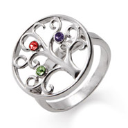3 Stone Sterling Silver Custom Birthstone Family Tree Ring