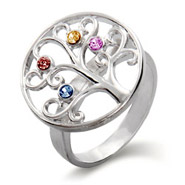 4 Stone Sterling Silver Custom Birthstone Family Tree Ring