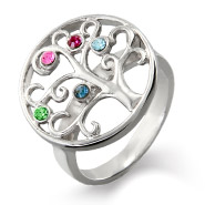 5 Stone Sterling Silver Custom Birthstone Family Tree Ring