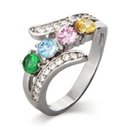 Close To The Heart 4 Stone CZ Bypass Birthstone Mother's Ring