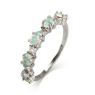 Sterling Silver Opal and CZ Stackable Ring