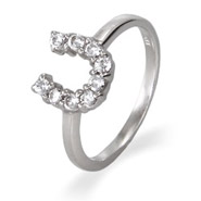 Sterling Silver CZ Horseshoe Ring