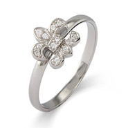 Stackable Reflections CZ Fleur de Lis Silver Stackable Ring
