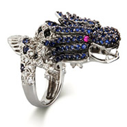 Sterling Silver Sapphire and Clear Dragon Cocktail Ring