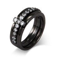 Black Rhodium CZ Sideways Cross Ring