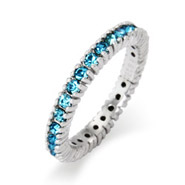 Stackable Reflections Sparkling March Aquamarine CZ Birthstone Stackable Ring