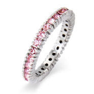 Stackable Reflections Sparkling October Pink CZ Birthstone Stackable Ring