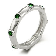 Stackable Reflections Emerald May Birthstone Bezeled Ring