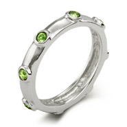 Stackable Reflections Peridot August Birthstone Bezeled Ring