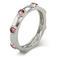 Stackable Reflections Pink October Birthstone Bezeled Ring