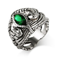 Lord of the Rings Inspired Aragorns Fiery Green CZ Ring