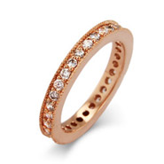 Vintage Style Rose Gold CZ Eternity Band