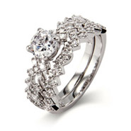 Sparkling Hugs and Kisses CZ Engagement Ring Set