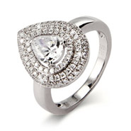 Sparkling Pear Cut CZ Ring with Micro Pave Border