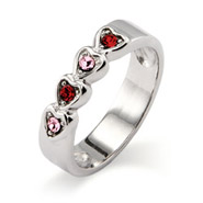 4 stone Austrian Crystal Band of Hearts Family Birthstone Ring