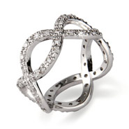 Sterling Silver Diamond CZ Infinity Band
